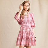 IVANNA Embroidery V-Neck Vintage Mini Dress