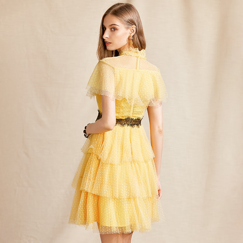 FELICITY Lace Ruffles Dot Mini Cake Dress