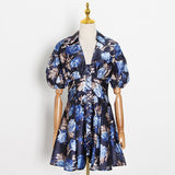 NANCY V-neck Floral Puff Mini Dress