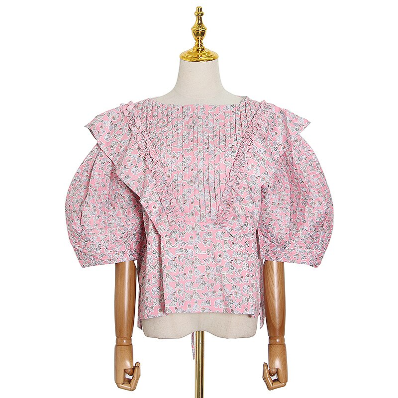 Bowknot Back Ruffled Puff Blouse