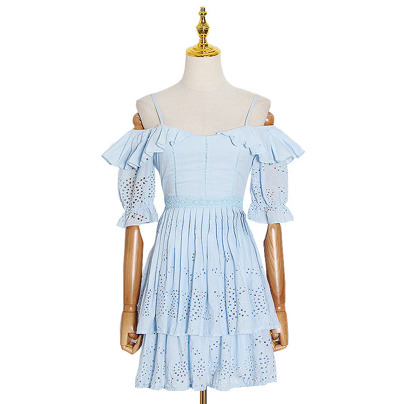 SERENITY Flare Half Sleeve Patchwork Ruffle Dress