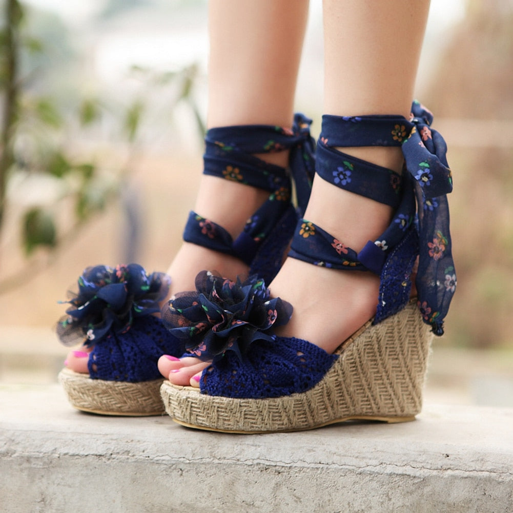 Floral bowknot high wedge sandals in colors