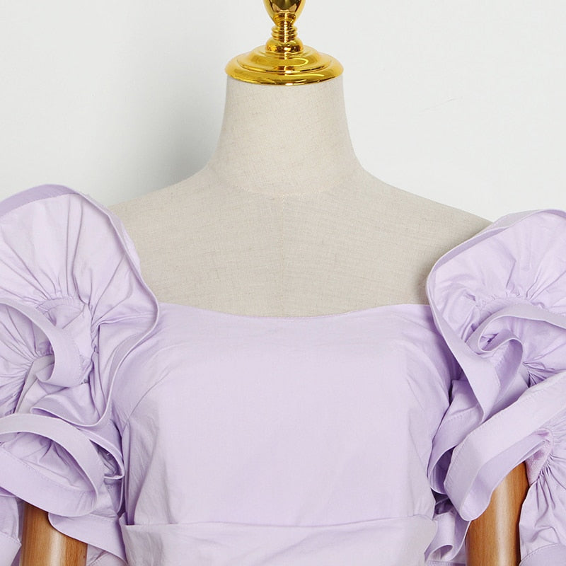 Ruffled off-shoulder top in colors