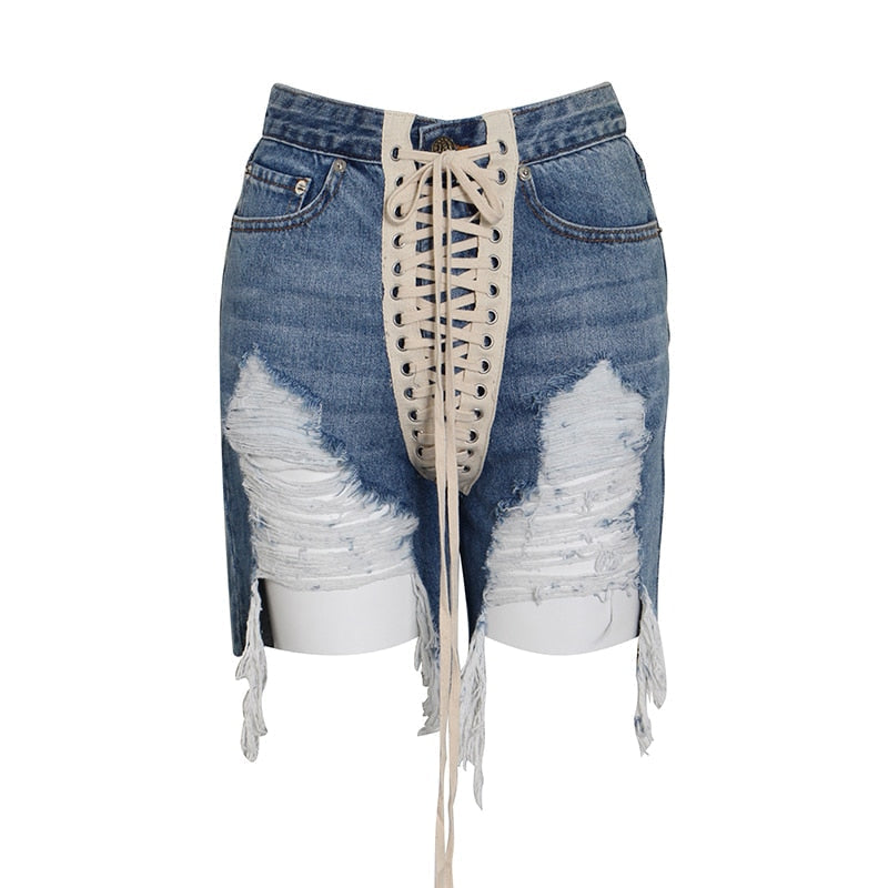 High Waist Laced Denim Shorts