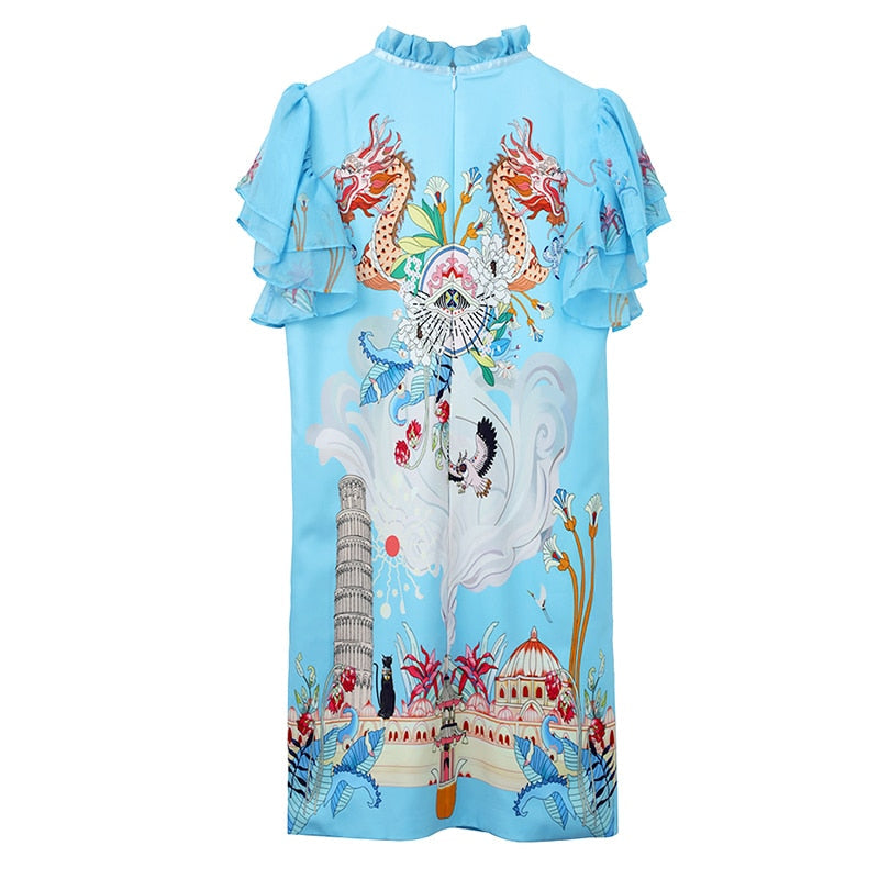 GALILIE Butterfly Sleeve Sequined Beading Dress