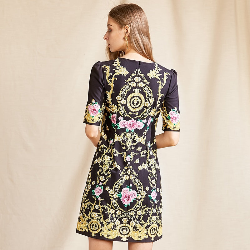 YVONE Floral Beading Loose Mini Dress
