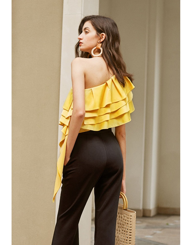 One Shoulder Layered Ruffles Loose Fit Blouse