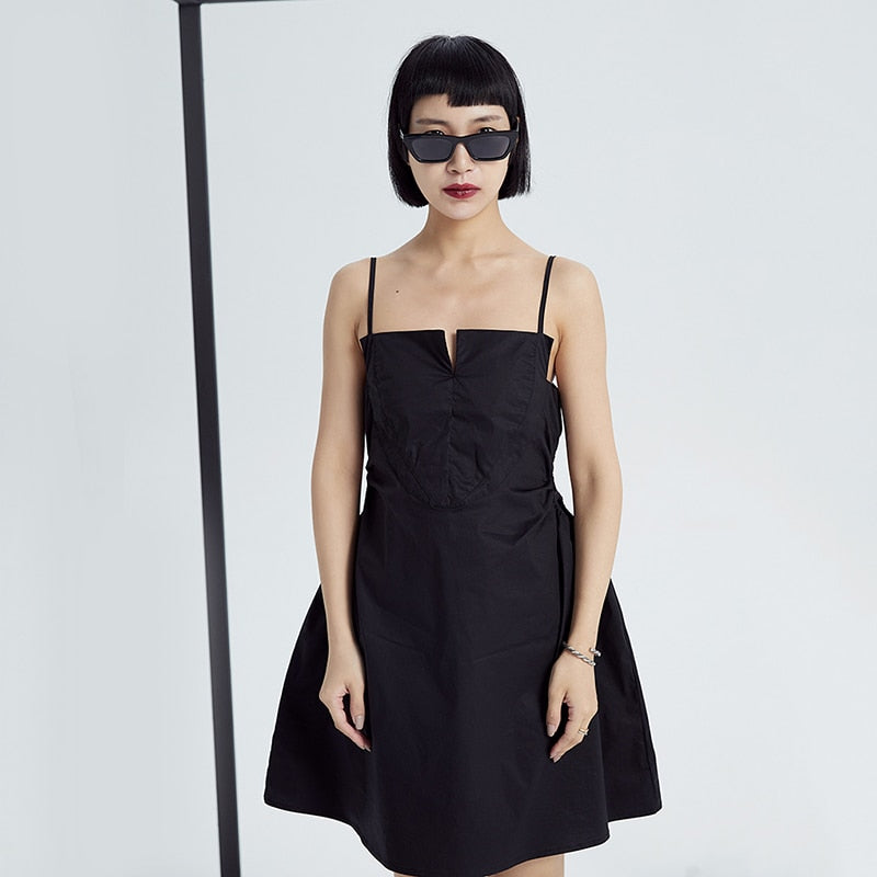 ATARA Spaghetti Black Split Loose Fit Dress