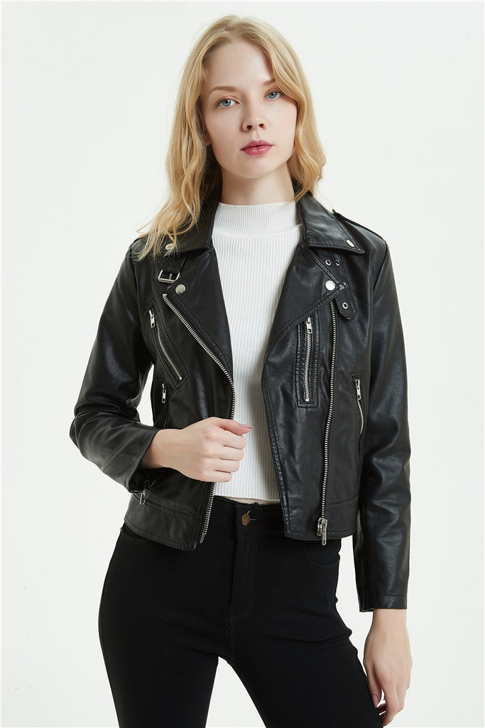 Lapel Zipper Vegan Leather Jacket