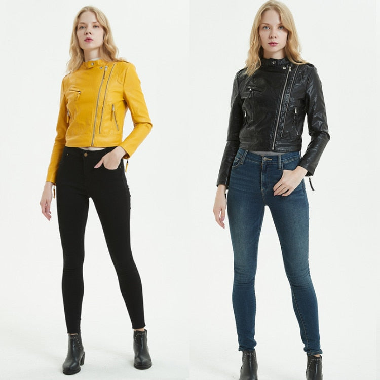 O-Neck biker jacket in colors