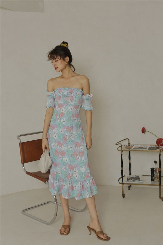 BETHEL Off Shoulder flowery Ruffle Midi Dress