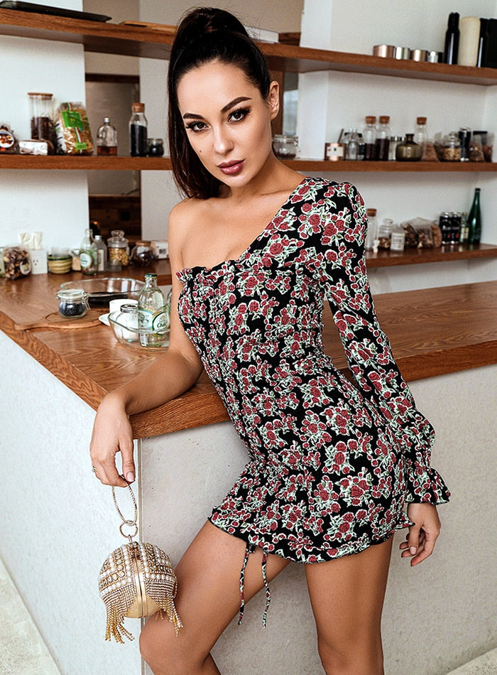 DELILAH Bodycon One-sleeve Mini Dress