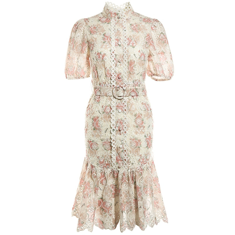 EDEN Belted Embroidery Ruffled Midi Dresses