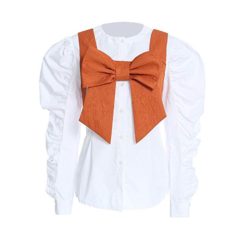 Vintage Inspired Blouse with Bow Vest