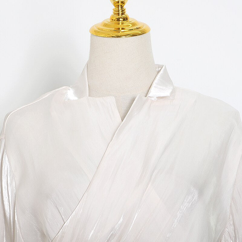 Silken Cross-over Blouse in colors