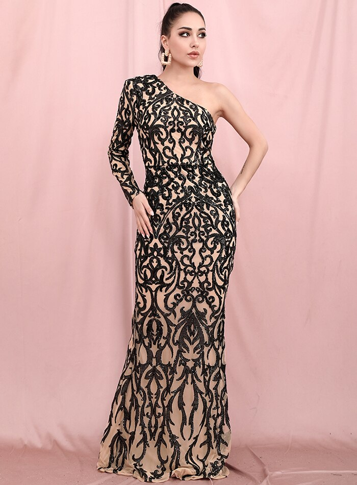 VENUS one-sleeve black on beige gown