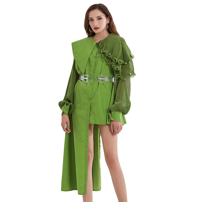 OZ ruffled asymmetrical windbreaker