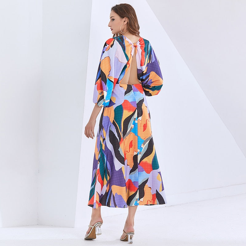 JADI tropical lantern-sleeve maxi dress