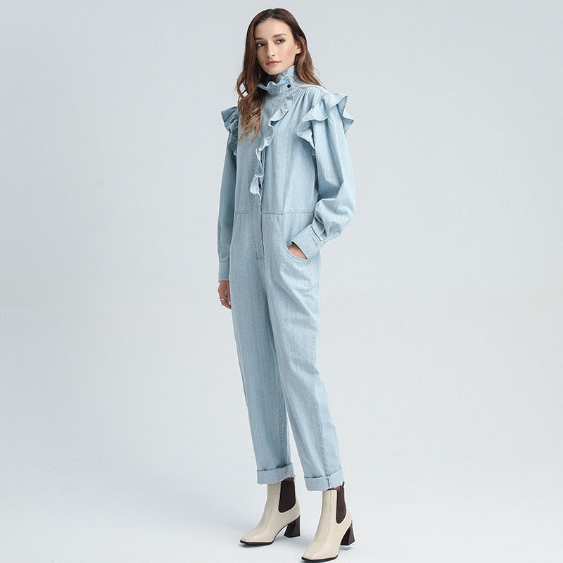Ruffled turtleneck overall in colors