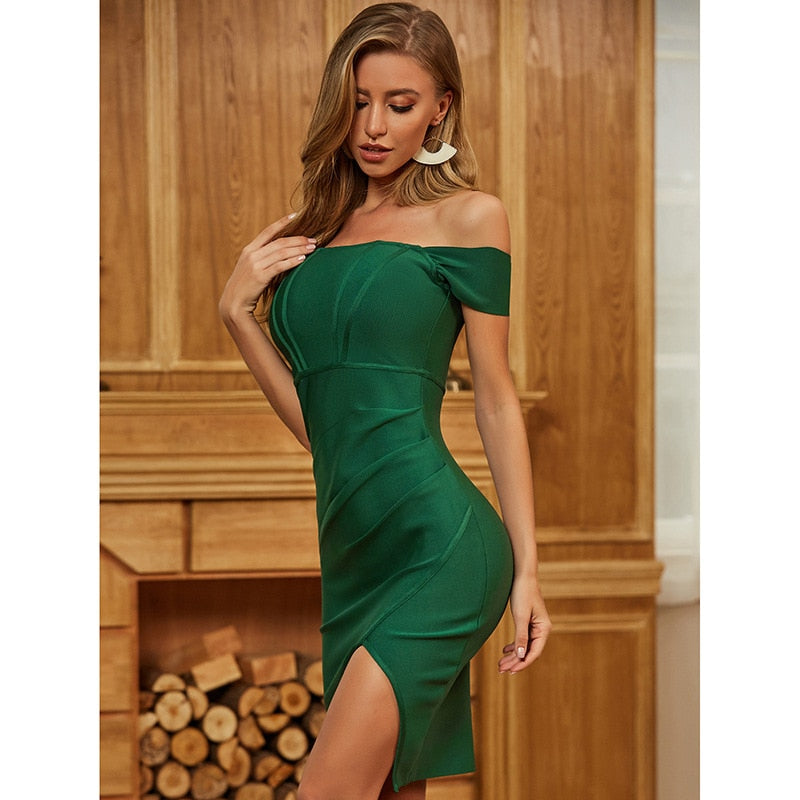 BELLA off-shoulder green mini dress