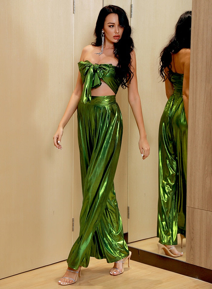 Foil Green Tube and Palazzo Pants Set