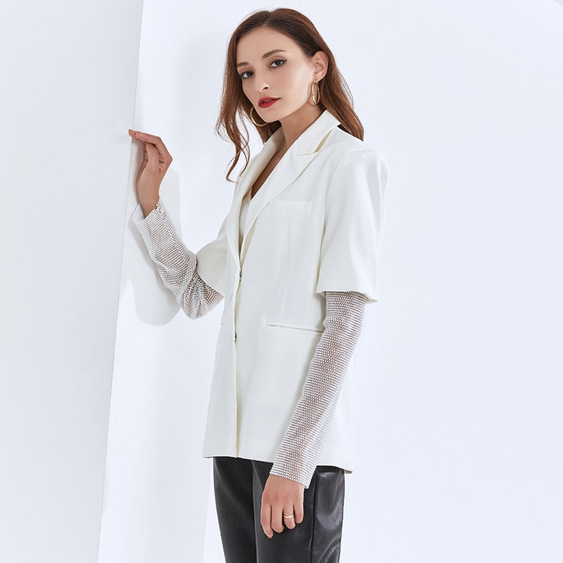 Classic Blazer with Mesh Sleeves