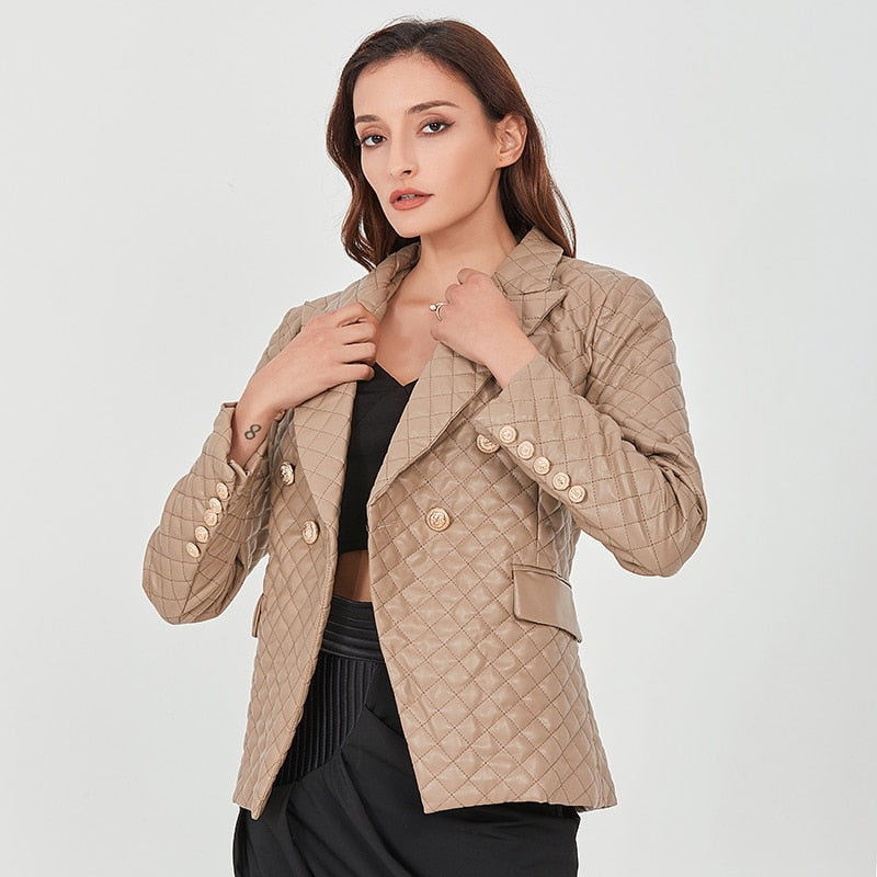 Quilted Blazer with Gold Buttons in colors