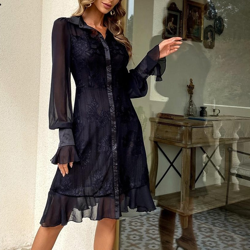 ANYA Button-down Lace Midi Dress