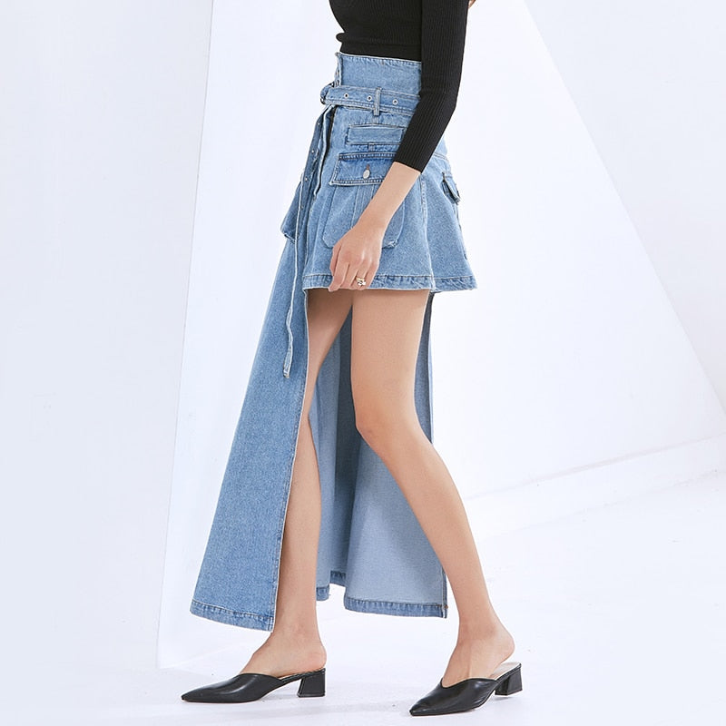 High-Waist Asymmetric Denim Skirt