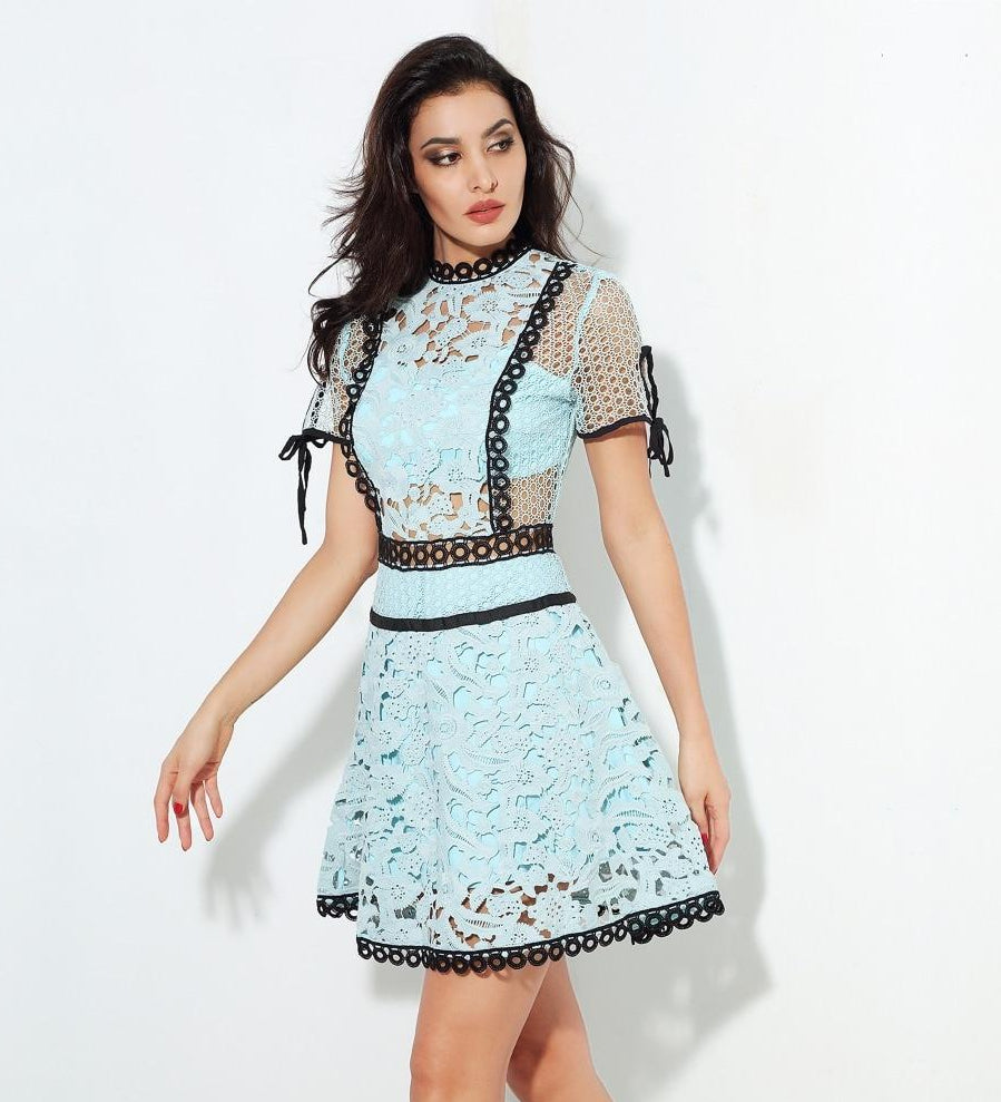 Forget-Me-Not lace mini dress in blue