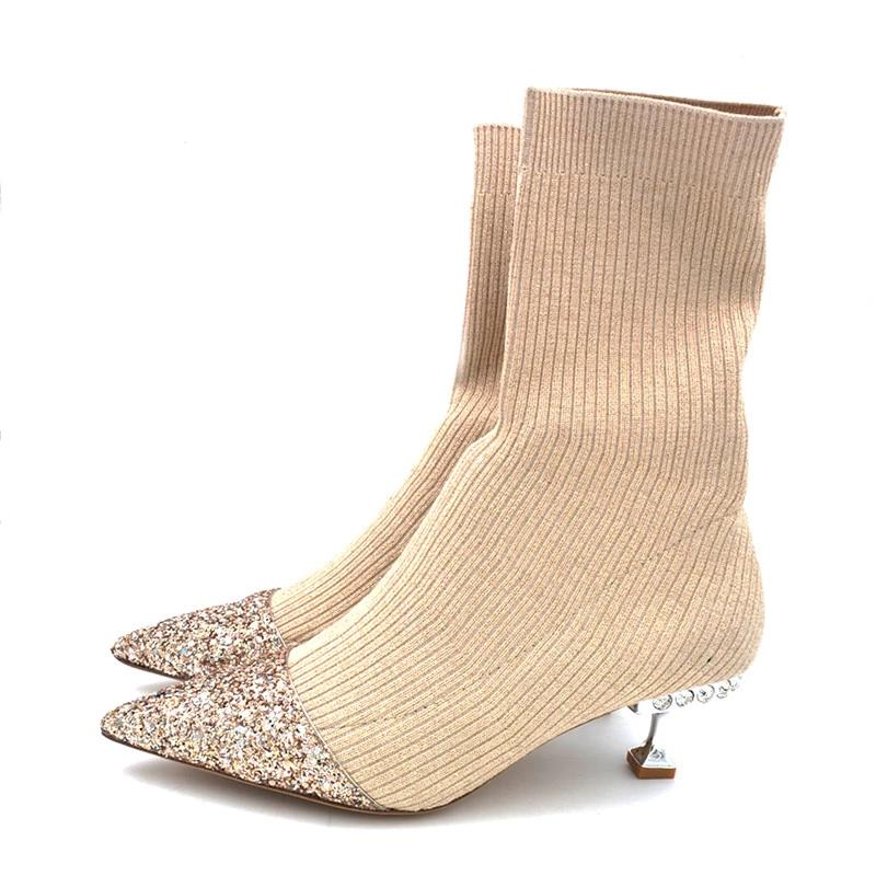 Sock boots with sequinned toe