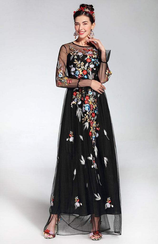 Embroidered black maxi dress with mesh sleeves