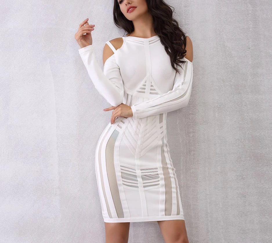 Bianca off-shoulder cut-out white midi dress