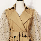 Lantern sleeve polka dot trench coat in beige