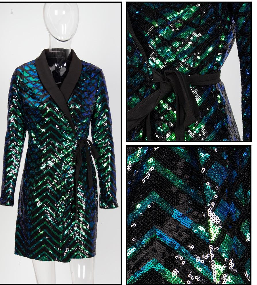 EYES-ON-ME SEQUINED WRAP PARTY MINI DRESS IN GREEN