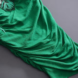 Embroidered midi dress in green