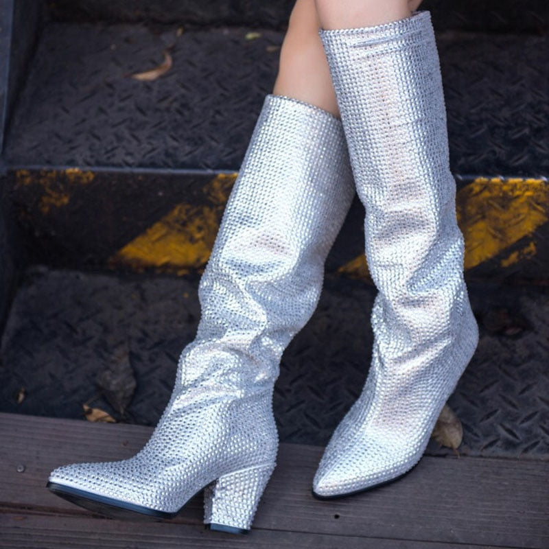 LIBERTY crystal-embellished knee-high boots