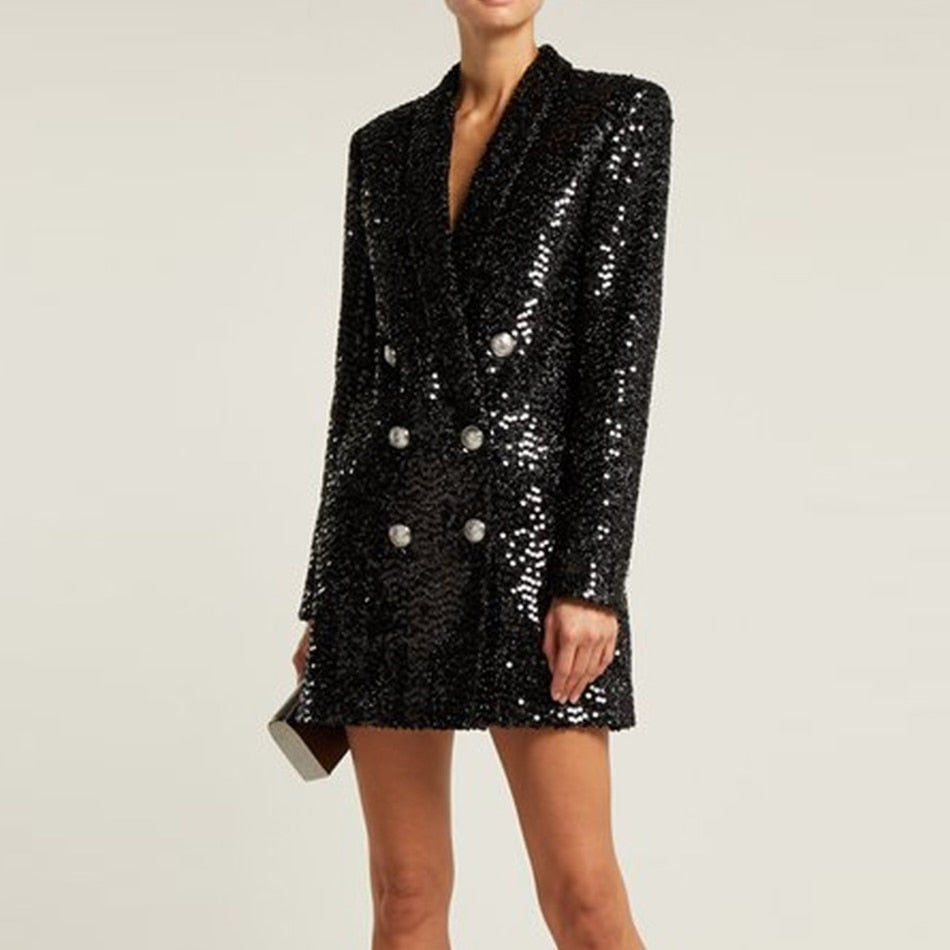 Sequined double-breasted mini dress in black