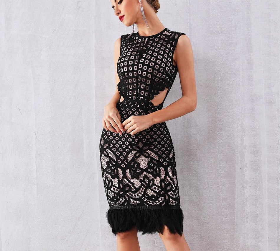 Odetta cut-out lace midi dress