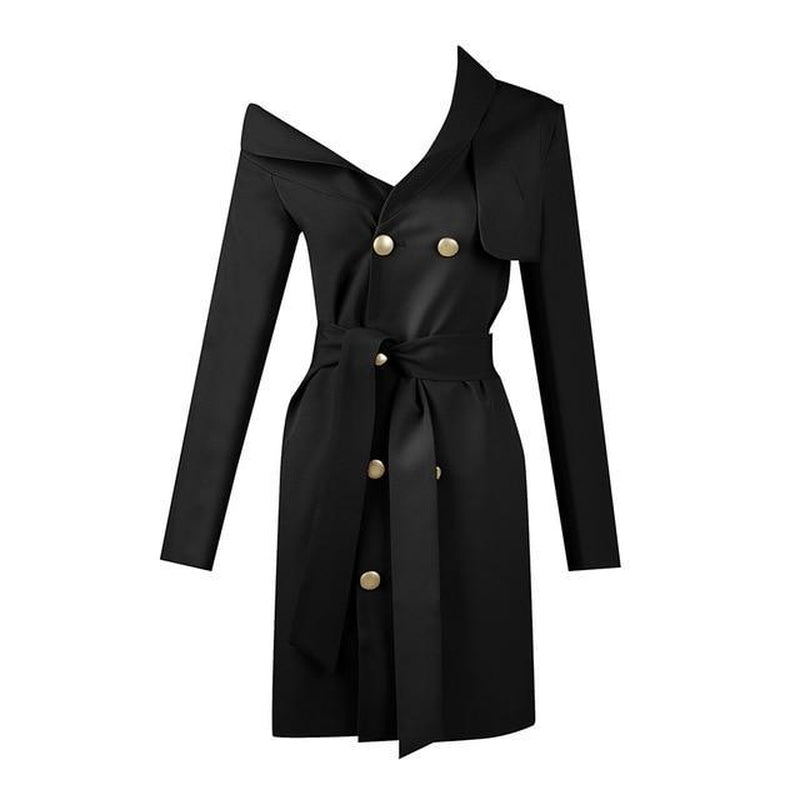 Cold-shoulder trench mini dress