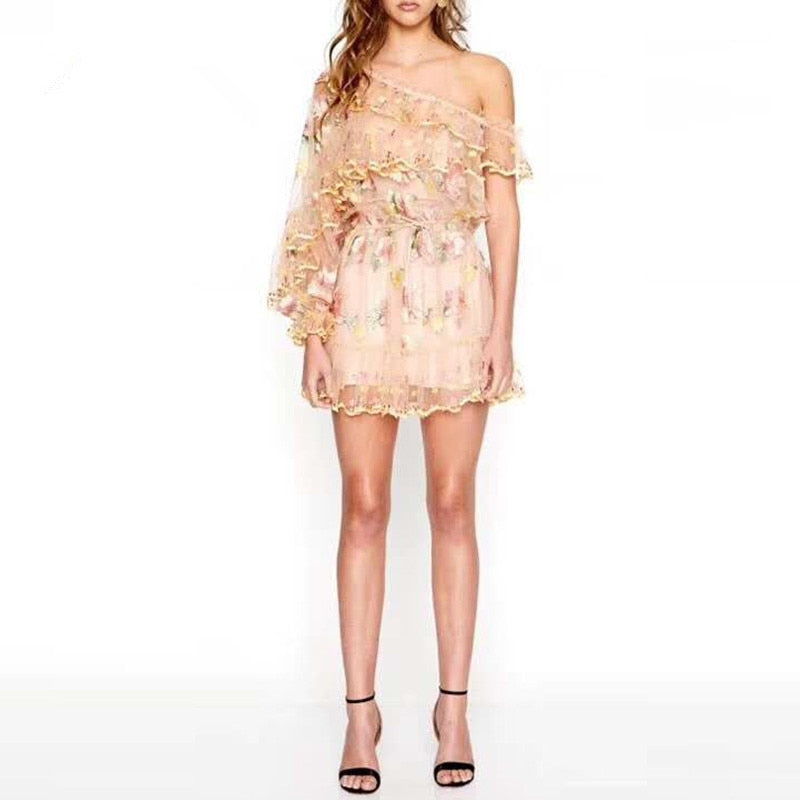 Gilly ruffled embroidered mini dress in beige