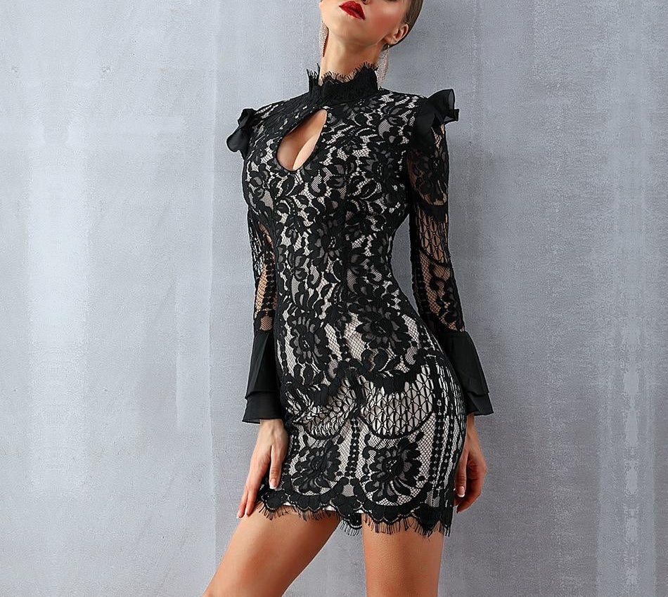 Antoinette turtleneck lace mini dress