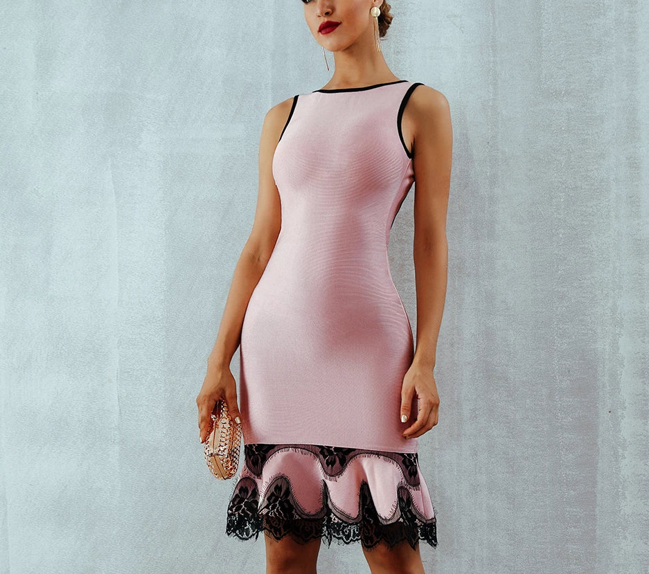 Mini Mermaid bodycon pink mini dress