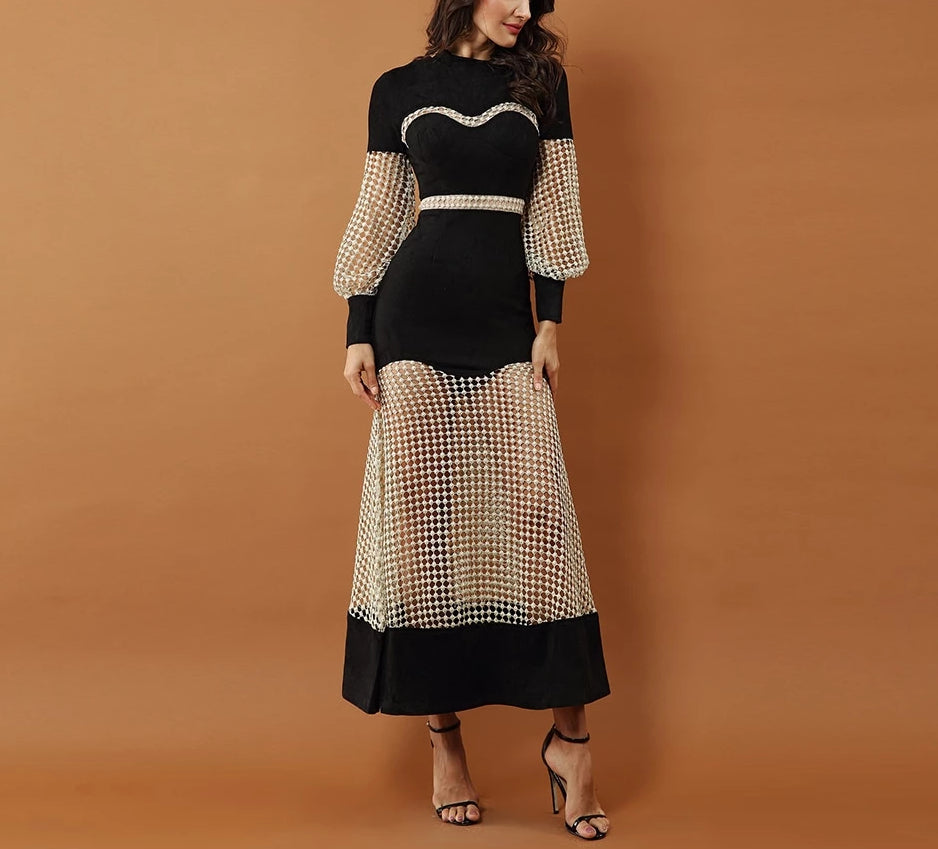 Lucia maxi dress with net sleeves and skirt