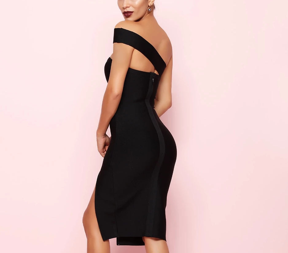 One-shoulder irregular bodycon midi dress