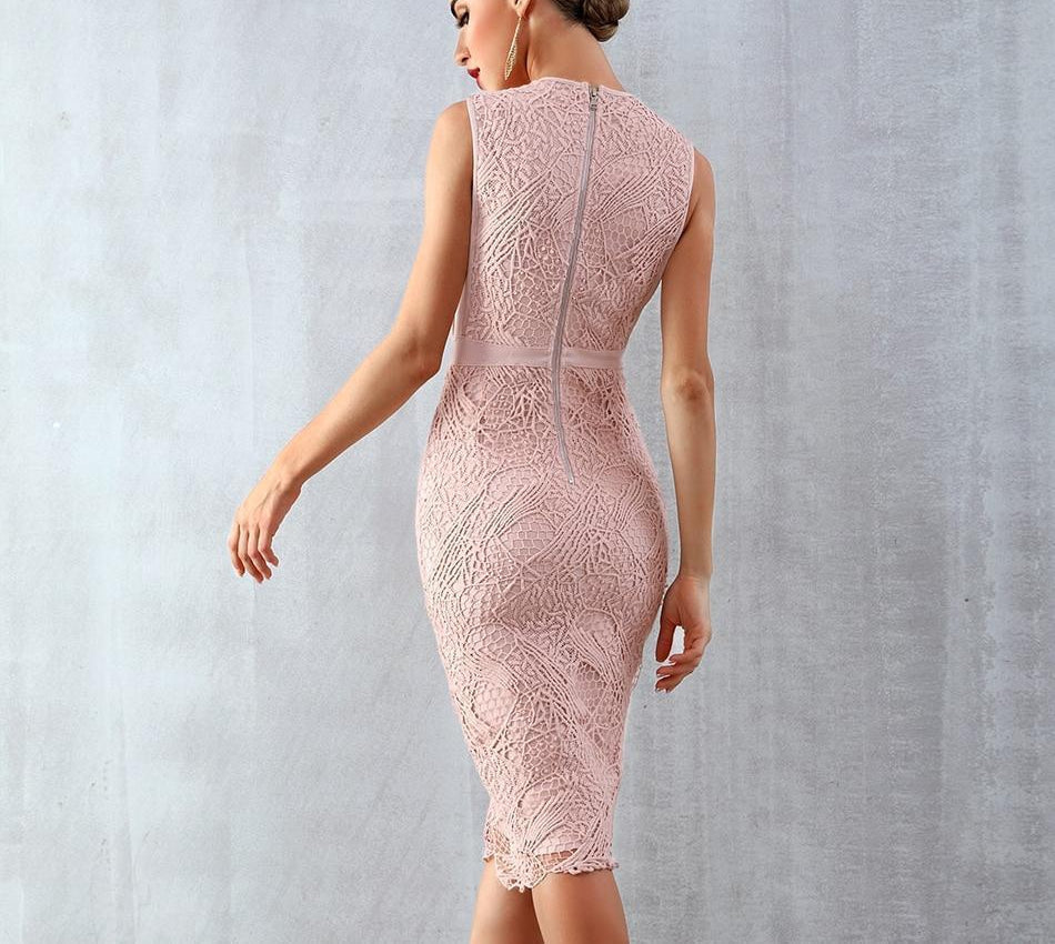 LADY lace midi dress in pink beige