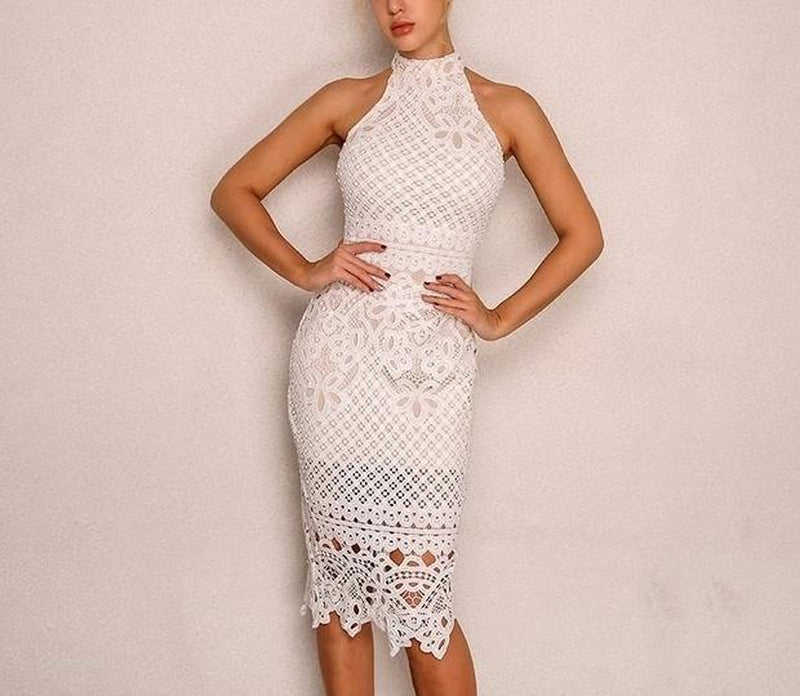 Belleza halter lace midi dress in white