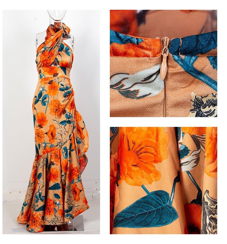 Leona satin floral gown