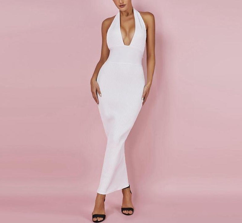 Brenda halter bodycon white maxi dress