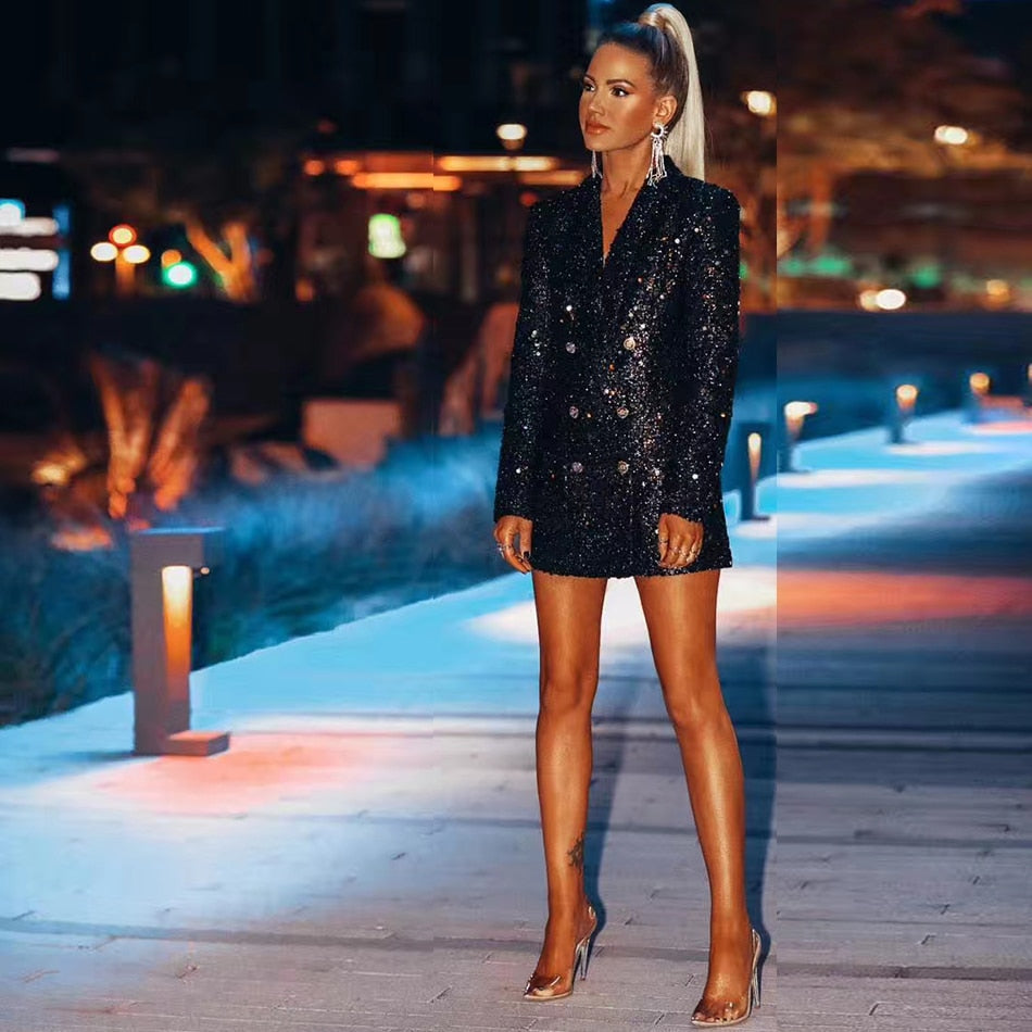Sequined double-breasted mini dress in black-mini dress-Primetime Looks